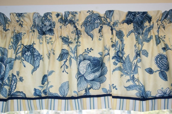 Waverly Montague Yellow Blue Floral Toile Valance 17 X