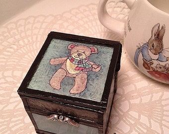 Baby child stain glass tooth fairy shabby chic cottage chic glass box boy girl gift