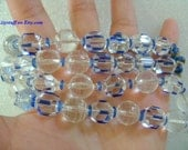 """Lovely Vintage Beautiful Art Deco Revival Faceted Sparkling Clear & Vibrant Blue Crystal Glass Beads Necklace 22"""" Long 54grams Lovely Colors"""