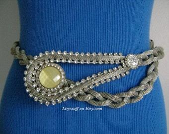 Nice Vintage Avant Garde Unique Silver Tone Braided Mesh W/Rhinestones Yellow Moonstone Coin Lariat Dramatic Necklace or Belt Fashion Runway