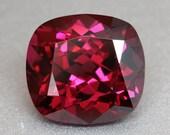 Gleaming Rich Raspberry red pink Rhodolite Garnet 5.9ct Cushion - Umbalite Gem