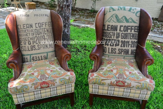 Custom Order Vintage Upholstered Wing Back Chairs