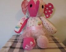 Handmade Custom Memory Elephant - Beautiful Memory Softie Keepsake - Memory Bear