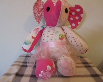 Handmade Custom Memory Elephant - Beautiful Memory Softie Keepsake - Memory Bear