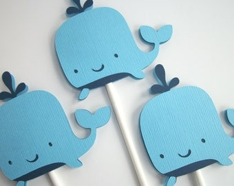 12 Whale Cupcake Toppers Whale Baby Shower Nautical Baby Shower Whale Party Decorations Whale Cake Topper Blue Whale Shower • Set of 12