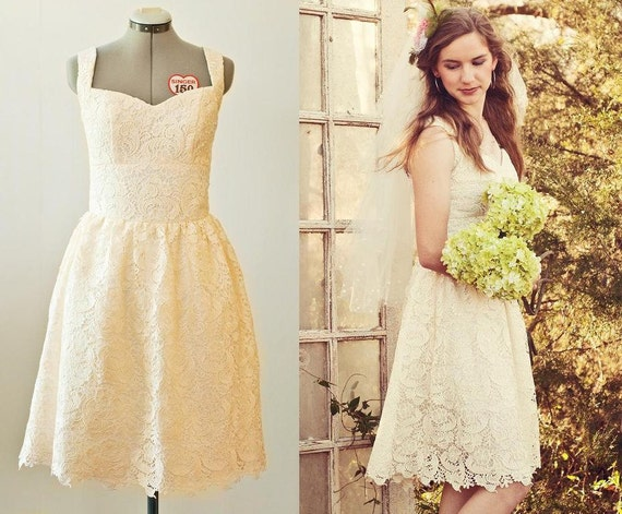 Items similar to lace tea length wedding dress size for Etsy tea length wedding dress