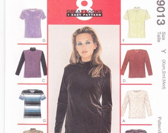 McCalls 9013 CLEARANCE Vintage Pattern Womens Tops in 8 Variations  SIze EX Small , Sm,  Med UNCUT