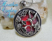Hummingbird Glow Pendant, pink, purple, coral, red glitter, glow in the dark pendant with necklace