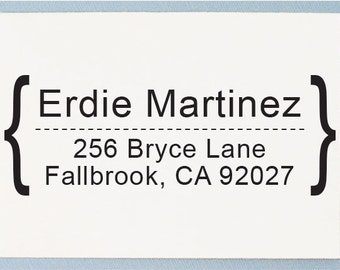 Custom Personalized Return Address Mounted Rubber Stamp - Arial Bold Font Design - AS12