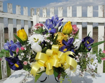 Cemetery Silk Flower Arrangements Tombstone Saddles Spring Colorful Yellow Purple White Pink Custom Orders Welcome