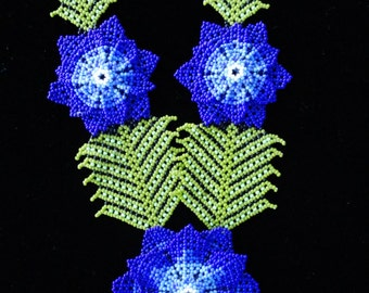 Blue Flower Hand Beaded Huichal Necklace