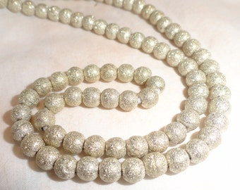 Small Glittery African Silver Bead Strands