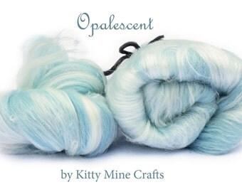 Opalescent Luxury Art Batt - Ice Blue - Merino Wool, Milk Silk, Viscose - Drum Carded Roving