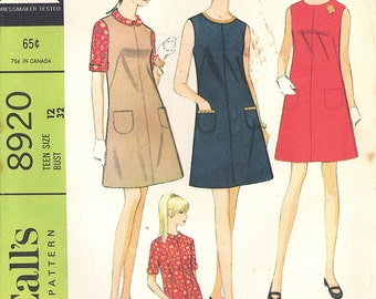 1967 Vintage McCall's Pattern 8920, Teen Size 12,  Teen Dress or Jumper and Blouse