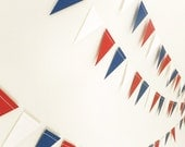 Paper Garland - Red White & Blue Bunting Flags - 20ft Length - FunkyFrillsUK