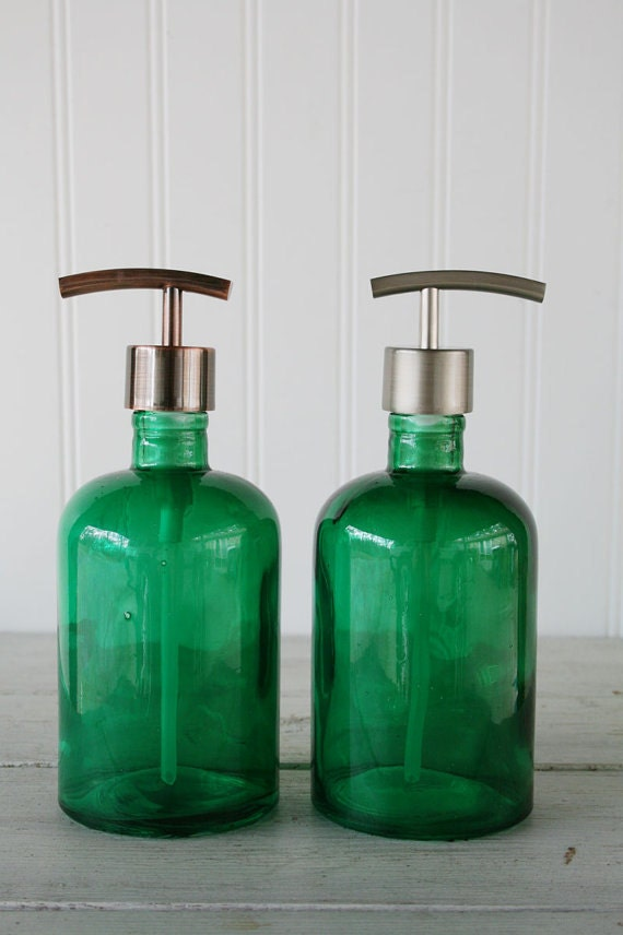 Recycled Glass Soap Dispenser Emerald