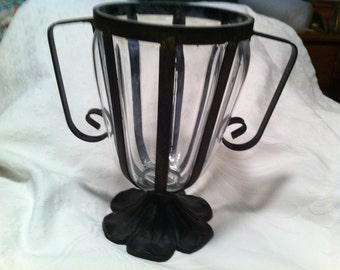 Vintage Glass and Wrought  Iron Vase
