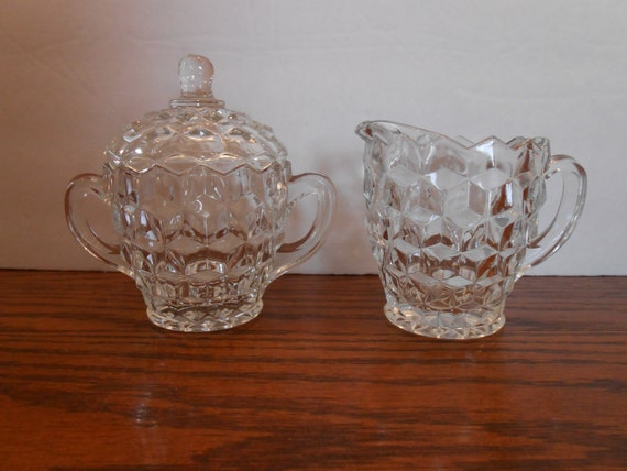Fostoria American Creamer And Sugar Bowl With Lid