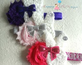 U pick Easter Bunny Headband, Girl's Bunny flower headband,Baby 1st Easter Headband,MTM Petti Lace romper,Girl Easter Headband,Easter outfit