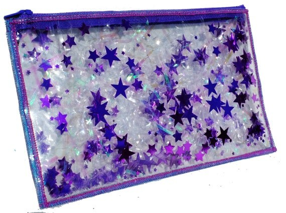 Purple Pencil Case Travel Makeup Bag Iridescent Bag Vinyl
