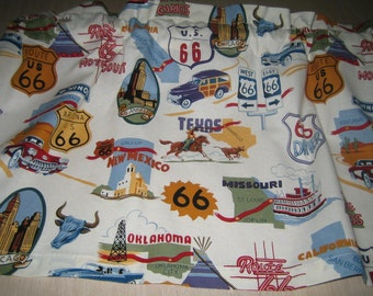 "Route US 66 Curtain Valance 41"" x 15"" in 100% Cotton by Alexander Henry - Handmade New."
