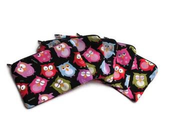 Reusable Snack Bags Set of 5 Owls Zipper Black
