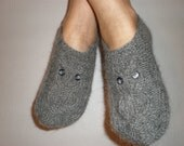 Hand-knitted women grey slippers with owl