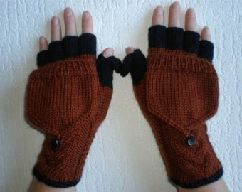 Handknitted redly brown color  women convertible fingerless gloves to mittens with buttons