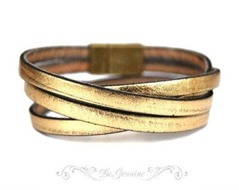 Womens Gift Double Wrap Gold Color Leather Bracelet Women Jewelry Gift For Her Valentines Gift Ideas for Girlfriend Mother to Daughter Gift