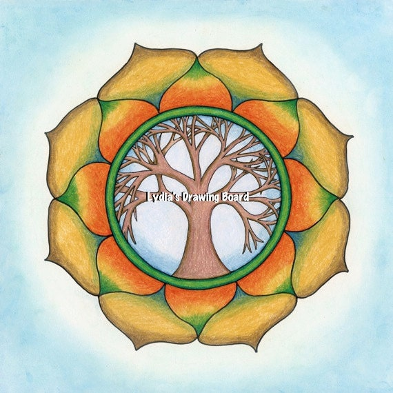 Mandala Art, Mandala Wall Art, Mandala Print, Mandala, Meditation Art, Yoga Studio Decor, Tree of Life, Peaceful Art, Tree of Life Wall Art