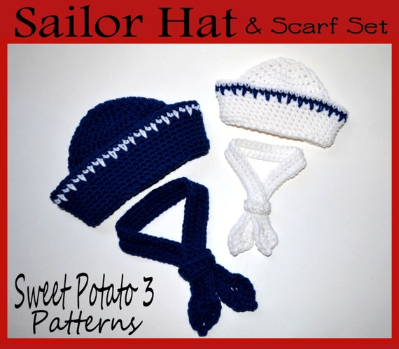 PATTERN Sailor Hat & Scarf Set - Crochet