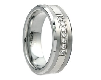 Tungsten Wedding Band,Tungsten Wedding Ring,Men's Tungsten,Cubic Zirconia,Anniversary Ring,Engagement Band,8mm,CZ Ring,CZ Band