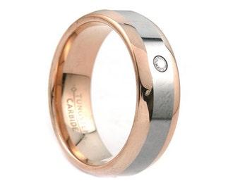 Tungsten Wedding Bands,Men's Tungsten Band,Rose Gold,High Polish,Anniversary Ring,Engagement Band,Handmade,Tungsten Carbide,His,Hers,8mm