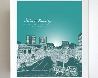 Wedding Gift Skyline / Chattanooga, TN Cityscape / Custom Keepsake / Special Date / 8x10 Art Poster / Any City Available