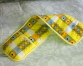 Handmade vintage fabric yellow double oven gloves