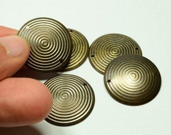 12 Pcs Antique Bronze  25 mm Disc Connectors