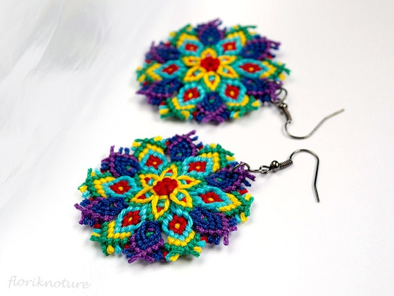 Boho Macrame Mandala Earrings - Statement jewelry - Knots of Blue Violet Turquoise Red Green Yellow