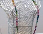Watermelon Tourmaline and Swarvoski Crystal Necklace- Beaded