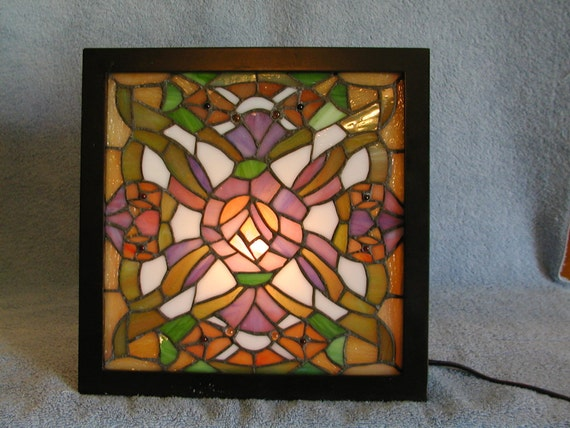 Stained Glass Light Box In Tiffany Style By Sandecollectibles