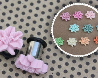 Lily flower matte finish plugs for gauged or stretched ears: 14, 12, 10, 8, 6, 4, 2, 0g