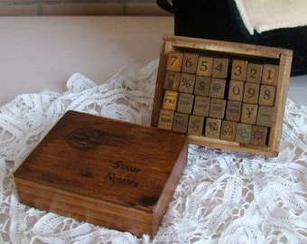 Vintage Number Stamps -- Rubber Stamps -- Diary Stamps -- 28 pcs