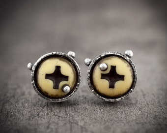 bright yellow stud earrings - silver with eco friendly lemon yellow screws - urban industrial