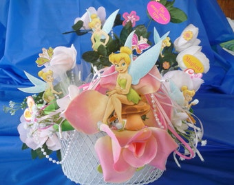 Night light Childrens Recycled Floral Basket Tinker bell pearls garden fairies