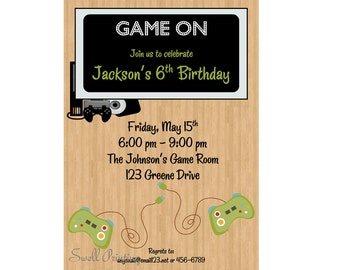 Pool Party Invitation Pool Birthday Invitation Swimming - Video game birthday invitation template