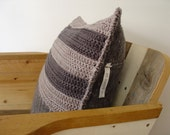 SALE, grey striped pillow, crocheted pillow in grey hues.