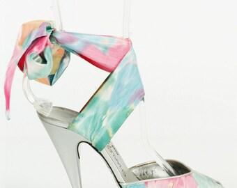 Vintage CHARLES JOURDAN Paris 70S Ankle strap silk taffeta sandal shoe 5.5
