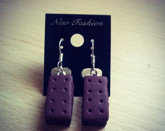 Mini Chocolate Bourbon Biscuit Dangle Earrings