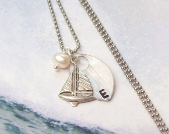 Silver Sailboat Necklace, Tropical Necklace , Personalized Necklace, stainless steel, hypo allergenic, hand stamped, pearl, summer