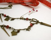 Scissor and Sewing Notions Necklace in Red