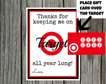 INSTANT Download THANKS for keeping me on Target TEACHER Appreciation Card / Note  - Printable